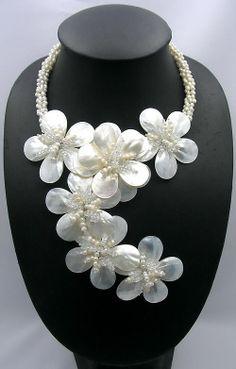 Shell Jewelry, Pearl Jewelry, Bridal Jewelry, Beaded Jewelry, Jewelery, Beaded Necklace, Flower Necklace, Indian Jewelry, Pearl Necklace