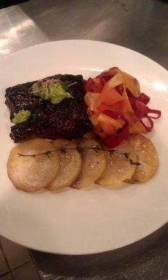RP by http://drandreahayeck.com Linden NJ's  wonderful family dentist.  Skirt Steak, Pickled Rainbow Carrot Ribbons  Potatoes #bestskirtsteakinnj