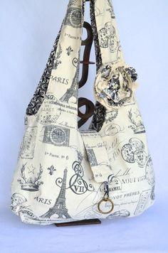 Fabric Hobo Bag Large - Reversible - Boho Bag - Paris Print Eiffel Tower Cottage Chic French Script