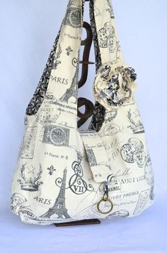 Fabric Hobo Bag Large - Reversible - Boho Bag - Paris Print Eiffel Tower Cottage Chic French Script