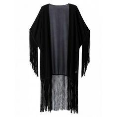 Choies Black Fringe Tassel Kimono Coat ($22) ❤ liked on Polyvore featuring outerwear, coats, black, tassel kimono, fringe coat, fringe kimono and kimono coat