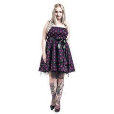 """Abito nero a pois fucsia """"Big Purple Dots"""" del brand #H&RLondon in stile Vintage, nero con pois viola, parte superiore elasticizzata, fascia lucida nera da annodare in vita e sottogonna in tulle 100% poliestere. lu.: 86 cm circa."""