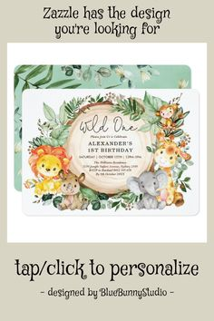 Shop Botanical Jungle Animals Wild One Birthday Invitation created by BlueBunnyStudio. Safari Invitations, 1st Birthday Invitations, Baby Shower Invitations, Jungle Animals, Jungle Safari, Wild Animals, Birthday Gift For Him, 1st Boy Birthday, Baby Shower Themes