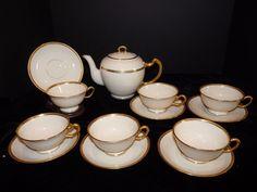 14 pc Tea Set Lenox COUNTESS Gold Encrusted Teapot (6) Cups & Saucers Green Mark #Lenox