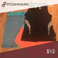 3 piece work out set BCg tank size large, BCg coral shorts size large & and blue BCg long shorts size large bcg Other