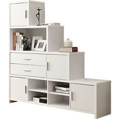White Stairstep Bookcase | SmartFurniture.com