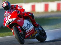 Bayliss lets it go on the Ducati MotoGP bike.