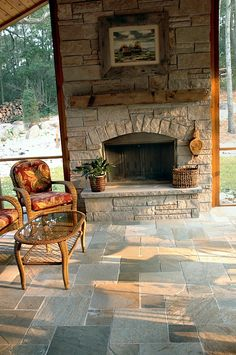 Natural cleft multi colored slate tile from Carved Stone Creations in a Versailles pattern. Porch Fireplace, Fireplace Update, Fireplace Design, Grass Alternative, Versailles Pattern, Outdoor Stone, Hearths, Outdoor Flooring, Tile Installation