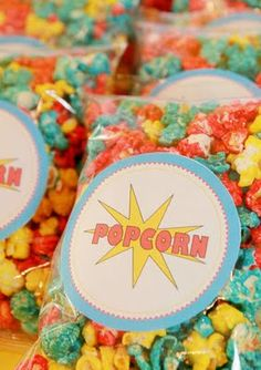 favors for superhero party  Use any theme:  yellow & blue or purple for minions