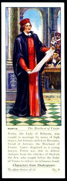 """Typhoo Tea Card - No.9, Portia (The Merchant of Venice) - """"Characters from Shakespeare"""" (series of 25 issued in 1937) 