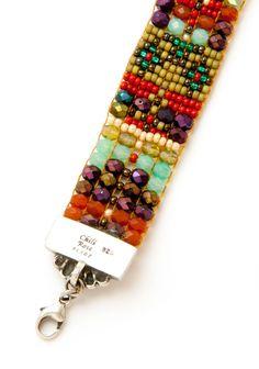 Olive Charm & Flower bracelet - Adonnah - Guest Designers | Peyote Bird Designs