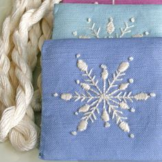 DIY Gift Pouch Crewel Embroidery Kit Snowflakes in periwinkle, lilac and sky blue on Etsy, $30.00