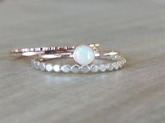 Opal Ring Set, Rose Gold Stack, Sterling Silver Ring, Beaded Ring Set, Glowing Opal Ring, Rose Gold Ring, Mixed Metal Rings, Stackable Set    This pink