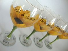 love these sunflower wine glasses!