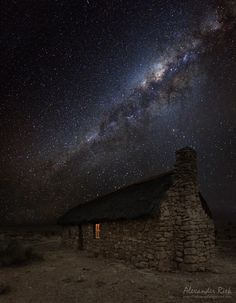 The Edge of Time - Shot taken on a starry night in the Kalahari, South Africa. Three shots, one each for house, window light and milky way. Preferably looked at in a dark room ; Black Press, Old Stone Houses, Home Alone, Night Photos, Night Photography, Milky Way, Nature Pictures, Luxury Travel, Night Skies