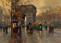 EDOUARD-LÉON CORTÈS (French, 1882-1969)  L'Arc de Triomph et l'avenue Friedland  Oil on canvas  13 x 18 inches (33.0 x 45.7 cm)  Signed lower right: Edouard Cortès