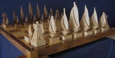 Sailboat Chess Set on etsy custom chess by JimArnoldsChessSets, $700.00
