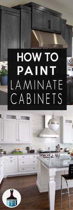 Learn how to paint your laminate cabinets and give your kitchen or bath a makeover! How to Paint Laminate Cabinets & Painted Furniture Ideas. The post How to Paint Laminate Cabinets & Painted Furniture Ideas appeared first on Mack Makeovers. New Kitchen Cabinets, Kitchen Redo, Kitchen Countertops, Kitchen Ideas, Black Countertops, Kitchen Craft, Bath Cabinets, Wooden Kitchen, Wood Cabinets