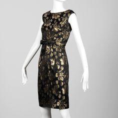 cc7e97b9cbef 1960s Vintage Metallic Gold + Black Satin Cocktail Sheath Dress