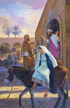 An illustration of Mary expecting a baby, sitting on a donkey, with Joseph at the door asking an innkeeper for room.