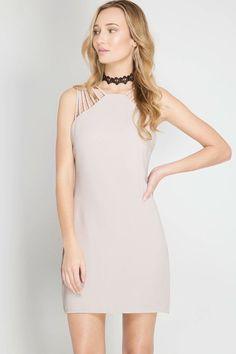 b74123728d0f Sleeveless Dress Multi Spaghetti Strap - Light Taupe – 3 Sisters
