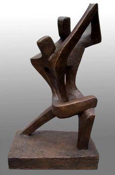 Bronze resin Couples or Group sculpture by artist John Brown titled: 'Argentine Tango (Semi AbstractFigurativeDance sculpture)' £3250 #sculpture #art