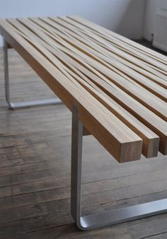 Cut and stretched coffee table. (source: The Design Walker): Coffee Tables Ideas Wooden Benches Stretch Coffee Design Walker Memorial Tables Furniture Woods Benches Gardens Benches Bench Furniture, Metal Furniture, Industrial Furniture, Modern Furniture, Furniture Design, Outdoor Furniture, Furniture Plans, Natural Wood Furniture, System Furniture