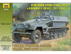 The Zvezda 1/35 German Sd.Kfz.251/1 Ausf.B Hanomag plastic model accurately recreates the real life Vehicle. This plastic Military kit requires paint and glue to complete.