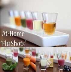 At-Home Flu Shots. Good idea for regular upkeep of the immune system.  Apple Cider Vinegar  Spinach/kale/parsley juice carrot juice blueberry juice  lemon/ginger juice cold water cod-liver oil pills.