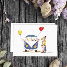 "Bullikarte ""Love Bus""  VW Bulli Liebe Hippie Bus VW Combi favor card for 60's Valentinskarte Vintage Vw Camper, Hippie Man, Vw Vintage, Roadtrip, Illustration, Scandinavian, Balloons, Germany, Poster"