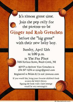 Bouncin' Basketball Baby Shower Invitation - Game Time Pep Rally Wording Ideas