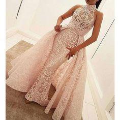 2017 Unique Lace Halter Gorgeous Evening Long Prom Dresses, WG767