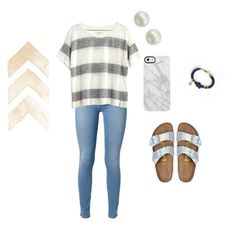 """""""My crush looked at me today… a lot❤️"""" by brisabella ❤ liked on Polyvore featuring beauty, 7 For All Mankind, Madewell, Birkenstock, Majorica and Uncommon"""