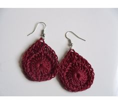 Dark Red Hand Crocheted Tear Drop Earrings...Valentine's Day, $4.00