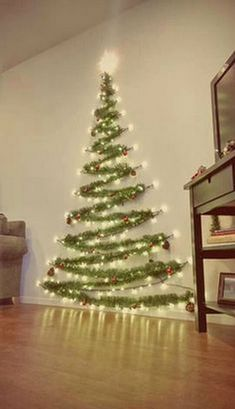 Easy Christmas Decor From simple to amazing Notable tips and tricks to form a fun and charming simple christmas decor diy xmas trees . Xmas image provided on this day 20190114 , exciting post reference 3707337813 Wall Christmas Tree, Noel Christmas, Winter Christmas, Xmas Trees, Diy Christmas Wall Decor, Tinsel Tree, Outdoor Christmas, Christmas Tree With Lights, Christmas Tables