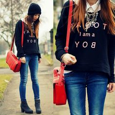 Http://Item.Rakuten.Co.Jp/Nowistyle/X T 20/ Sweatshirt, Stradivarius Jeans, H Bag, New Look Necklace | TODAY I am a BOY (by Agata P) | LOOKBOOK.nu
