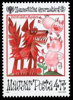 Cool stamp from Hungary depicting the children's story, 'Three Little Pigs'