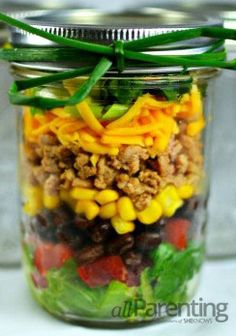 Taco Mason Jar Salad- needs more lettuce and No beans/olives :)