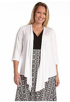 6f5777d7dd1 Karen Kane Plus Size Fashion White Three-Quarter Sleeve Drape Jacket Belk  Women s Plus Size
