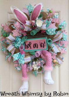 XL Jute Mesh Easter Bunny Wreath in Pink & by WreathWhimsybyRobin