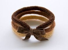 French knitted - brown wool bracelet with ribbon by LaMauvaiseGraine Crochet Bracelet, Bracelet Crafts, Jewelry Crafts, Bracelets, Handmade Jewelry, Spool Knitting, Knitting Accessories, Bracelet Tutorial, Creations