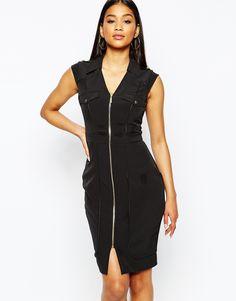 Image 1 ofLipsy Zip Pencil Dress With Shoulder Detail