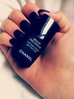 Black matte Chanel nail polish