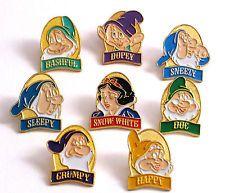 Rare Disney Snow White and Seven Dwarf Collectors Pins (8 Vintage Disney Pins)