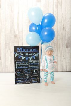 Birthday Chalkboard Sign / Printable / Boys by SuziQPrintShop