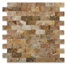 "Buy 1 X 2 Scabos Travertine Split-Faced Brick Mosaic Tile Sample Product Attributes - Item: Premium (SELECT) Quality 1"" X 2"" SCABOS TRAVERTINE SPLIT-FACED BRICK MOSAIC TILE (ON-MESH) - Dimensions (per"