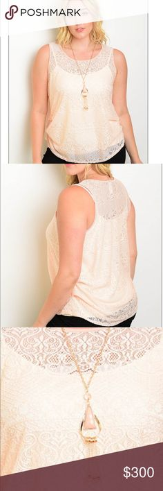 """✨JUST IN✨ Sleeveless Top w/Necklace 🆕 Sizes 1x, 2x, and 3x available. Beautiful sleeveless round neckline top with ruched sides. Matching statement necklace also included 😍. Sheer Lace! You'll need a cute camisole underneath.   Country: Made in USA Fabric Content: 95% POLYESTER 5% SPANDEX Description: L: 28"""" B: 44"""" W: 44"""" Tops Blouses"""