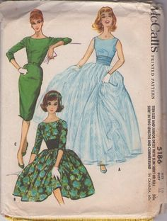 1959 McCalls 5186 Unique Dress Sewing Pattern Vintage Size 15 Ball Gown Full Skirt with Cummerbund Formal Dress Patterns, Evening Dress Patterns, Vintage Dress Patterns, Mccalls Sewing Patterns, Clothing Patterns, Vintage Dresses, Evening Dresses, Vogue Patterns, Dress Formal