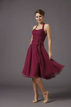 Shop Bridesmaid  Knee Length Halter A Line Chiff Belt Online affordable for each occasion. Latest design party dresses and gowns on sale for fashion women and girls.