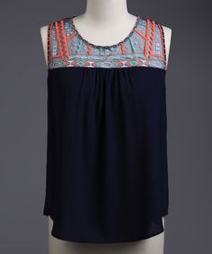 This Perch by Blu Pepper Navy Geo Sleeveless Top - Plus by Perch by Blu Pepper is perfect! #zulilyfinds